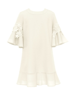 Sukienka z rozkloszowanymi rękawkami 134-170 18A/SM/20 ecru