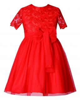Świąteczna sukienka z czerwonej koronki 86-116 Lucie czerwona