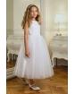 Tiulowa sukienka midi dla dziewczynki 128-158 8A/SM/20 biała 1