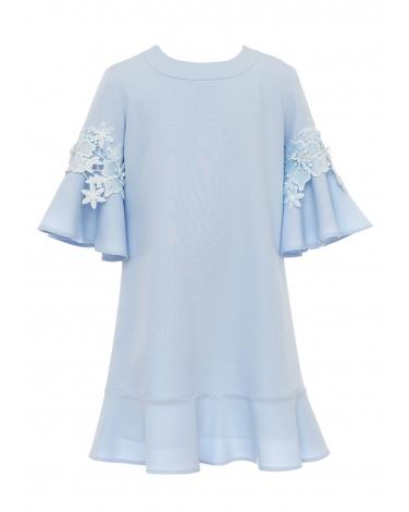 Sukienka z rozkloszowanymi rękawkami 134-170 18C/SM/20 niebieska