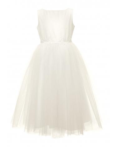Dziewczęca sukienka midi 128-158 8B/SM/20 biała 1