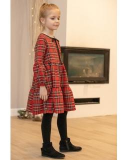 Świąteczna sukienka w szkocką kratkę 122-152 P-170/viw czerwona