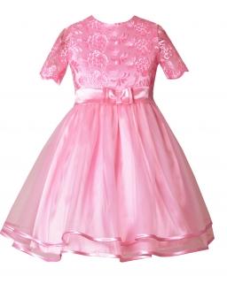 Galowa sukienka dla dziewczynki 86-116 Lilly róż