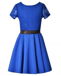 Sukienka z koronkową górą 146-164 Estella chabrowa