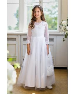 Długa komunijna sukienka dla dziewczynki 140-152 1/SM/20 biała