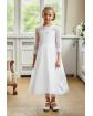Piękna komunijna sukienka z haftem 140-152 2A/SM/20 biała
