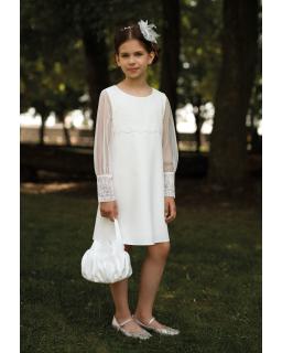 Sukienka z oryginalnymi rękawkami 128-158 11B/SM/20 ecru