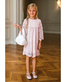 Koronkowa sukienka dla dziewczynki 128-158 25A/SM/20 róż