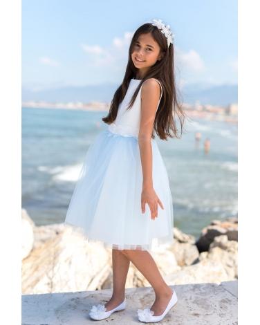 Weselna sukienka dla dziewczynki 104-152 11D/SM/19 niebieska