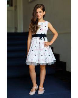 Dziewczęca sukienka w róże 122-152 39/SM/20 ecru