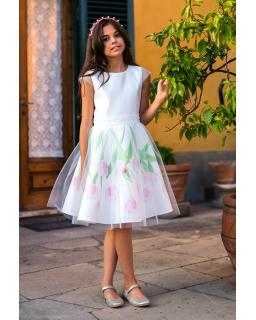 Piękna rozkloszowana sukienka z tulipanami 122-158 32/SM/20 ecru