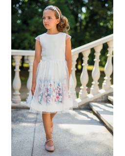 Okolicznościowa dziewczęca sukienka z tiulem 122-158 33/SM/20 ecru