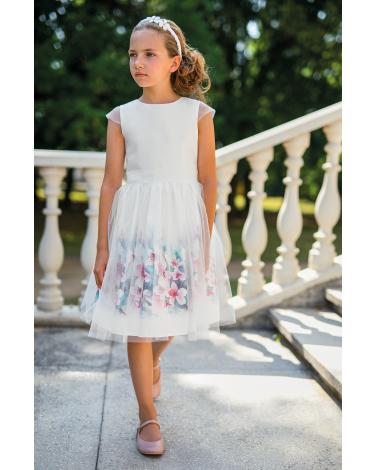 Okolicznościowa dziewczęca sukienka z tiulem 122-158 33/SM/20 ecru 1