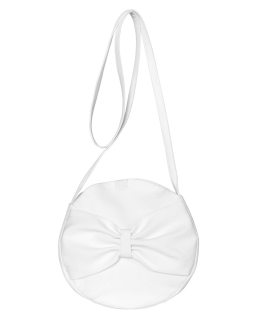 Okrągła torebka komunijna z kokardą 10A/SMT/20 biała