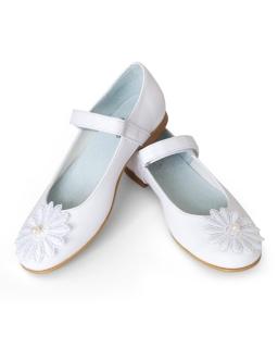 Komunijne buty z haftowanym kwiatem 32-37 01D/SMB białe