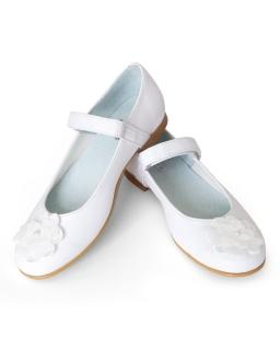 Komunijne buty z kwiatem i perłą 32-37 01E/SMB białe