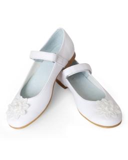Komunijne baleriny z haftowanym kwiatem 32-37 01F/SMB białe