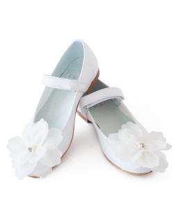 Komunijne baleriny z tiulowym kwiatem 32-37 01C/SMB białe