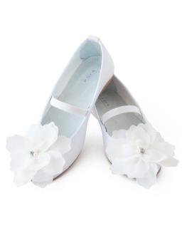 Komunijne baleriny z gumeczką i kwiatem 31-36 03C/SMB białe