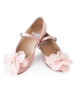 Urocze balerinki z ozdobnym kwiatem 32-38 05B/SMB róż