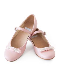 Komunijne buty z kokardkami 32-38 05A/SMB róż
