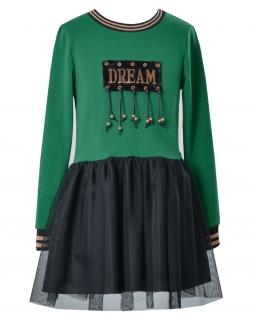Sukienka na każdy dzień 128-152 Miss czarny plus zielony