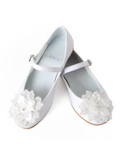 Komunijne balerinki z ozdobnym kwiatem 32-38 02B/SMB białe