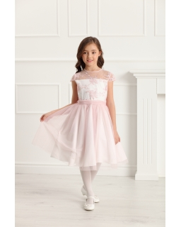 Wizytowa sukienka dziewczęca z koronką 128-158 Rebecca róż
