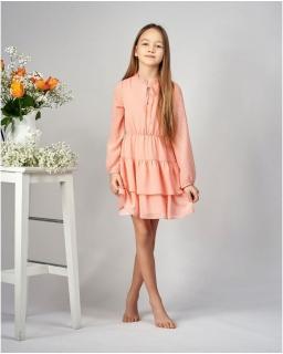 Zwiewna sukienka dla dziewczynki 134-164 Julka brzoskwiniowa 1