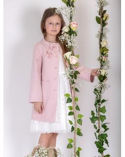 Wyjątkowy różowy płaszcz dziewczęcy 134-164 PŁ-119 róż