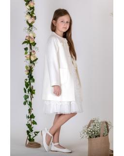 Elegancki płaszczyk dla dziewczynki 134-164 PŁ-119 ecru