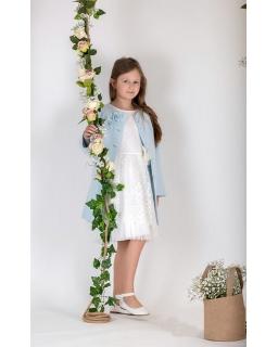 Wiosenny płaszczyk dla dziewczynki 134-164 PŁ-119 niebieski