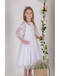 Sukienka midi do Pierwszej Komunii 134-158 P-179 biała