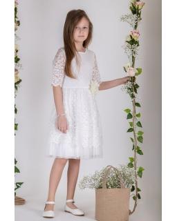 Sukienka z koronki do Pierwszej Komunii 134-158 P-180 ecru
