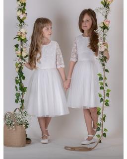Sukienka komunijna z koronkowym karczkiem 140-158 P-181 ecru