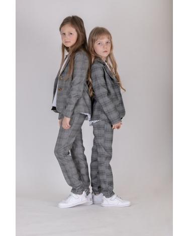 Komplet dla dziewczynki żakiet i spodnie 128-158 KP1/viw szary 1