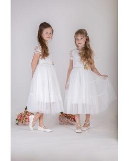Długa koronkowa sukienka w stylu boho 128-158 P-172 ecru