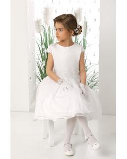 Pokomunijna sukienka z haftowaanymi wzorami 128-158 Sara biała
