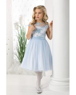 Wizytowa sukienka dziewczęca z koronką 128-158 Rebecca błękit