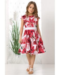 Okazjonalna sukienka w czerwone kwiaty 128-158 Holly czerwona