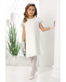 Pokomunijna sukienka z eleganckim rękawkiem 140-158 Julia ecru