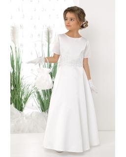 Długa komunijna sukienka z satyny 134-158 Megan biała