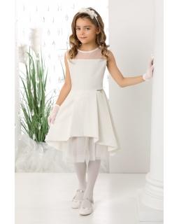 Asymetryczna sukienka dla dziewczynki 134-164 Rihana ecru 1