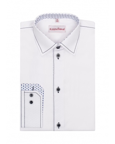 Biała koszula ze stębnówką 122-172 KS32