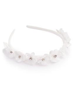 Biała opaska z kwiatami OP22