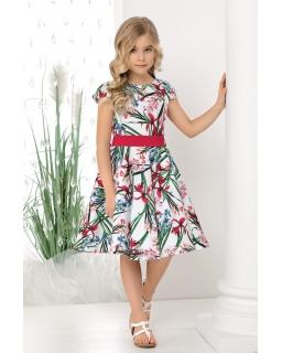 Okazjonalna sukienka w irysy 128-158 Holly 2 czerwona
