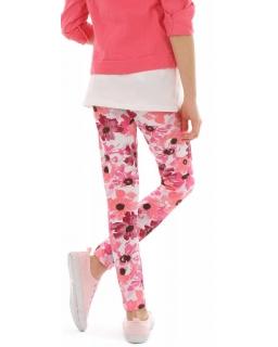 Dziewczęce legginsy w kwiaty 116-158 KRP327 wzór015