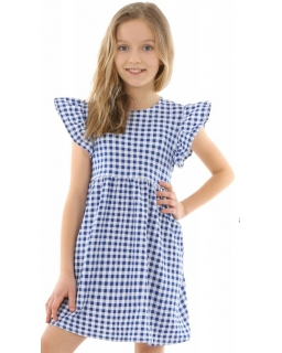 Urocza bawełniana sukienka w kratkę 128-158 KRP331niebieska