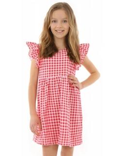 Urocza bawełniana sukienka w kratkę 128-158 KRP331czerwona