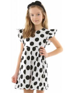 Urocza bawełniana sukienka w grochy 128-158 KRP331